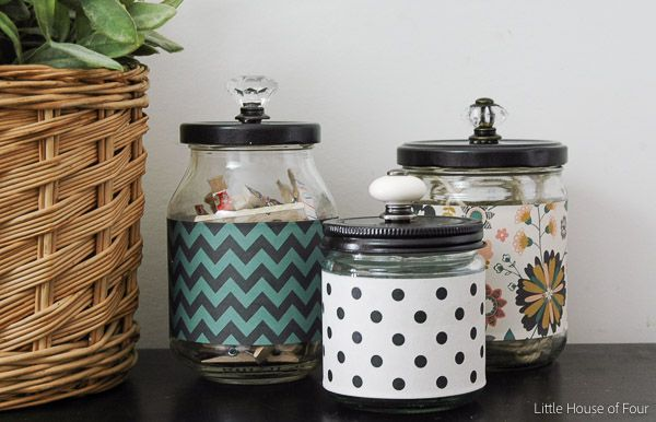 use some of the shelf liner to wrap the jars. Continue patterns from inside the cabinets to the pantry.