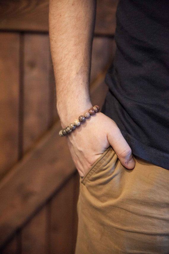 Men's earth yoga bracelet / Agate bracelet / Brown elastic