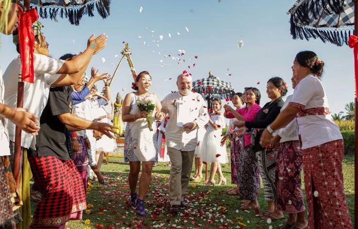 Flower shower after wedding - ubud wedding