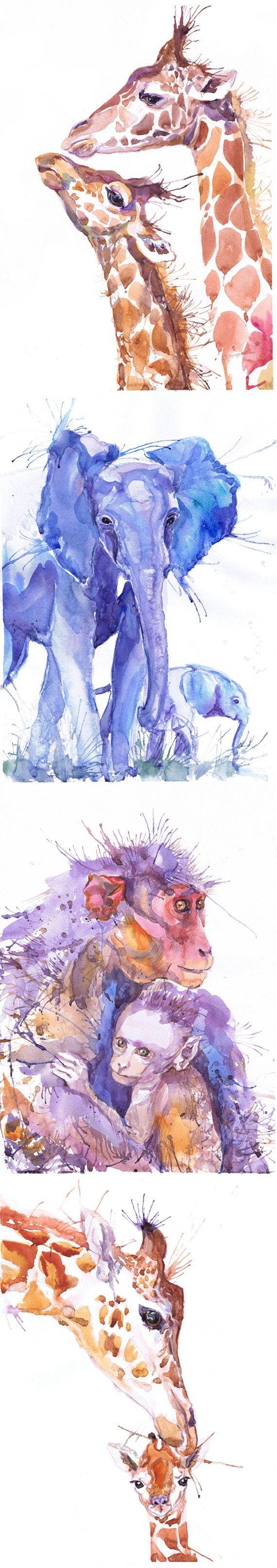 Artista ACEO tarjetas arte imprime acuarela selva Safari