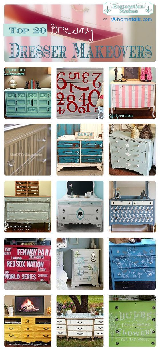 DIY:: Budget Beautiful Home Decor ! #20 Gorgeous  Dresser Makeovers !! With Tutorials for Each ! curated by 'Restoration Redoux' blog!