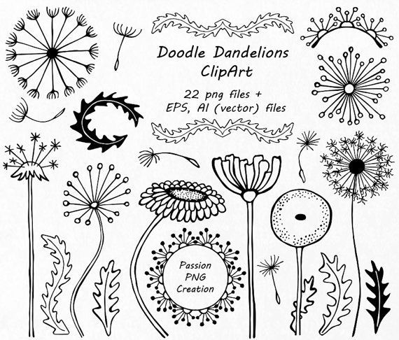 awesome Hand drawn Doodle Dandelions Clipart, Flower Silhouettes, Doodle flowers, PNG, EPS, AI, vector, Personal and Commercial Use