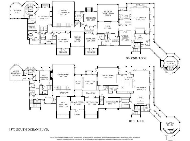 29 million newly listed 30 000 square foot oceanfront for Oceanfront floor plan