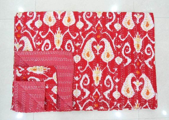Queen Size  Red Ikat  Kantha Quilt India Gudari by lavinas on Etsy