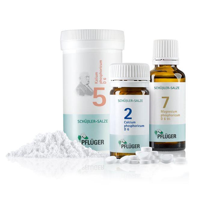 Die Energie-plus-kur von Pflüger, Schüßler Salz Biochemie Pflüger® Nr. 2 Calcium phosphoricum D 6, Schüßler Salz Biochemie Pflüger® Nr. 5 Kalium phosphoricum D 6, Schüßler Salz  Biochemie Pflüger® Nr. 7 Magnesium phosphoricum D 6 Pflichttextangaben http://www.pflueger.de/pflichtangaben.l