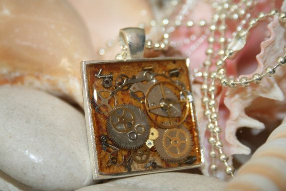 Steam Punk Necklace with recycled watch parts. by JewelleryByJody, $25.00