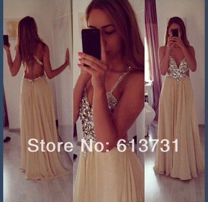 2014 New Sexy Spaghetti Straps V Neck Champagne Chiffon Crytal Long Evening Dresses Floor Length Open Back Prom Dresses