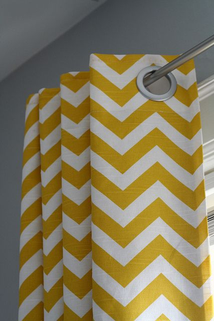 chevron curtains, I think this would look perfect in my kitchen with black cabinets and turquoise accents.