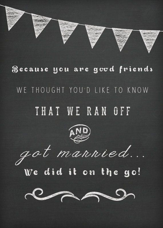 Wedding Announcement - courthouse wedding invite idea - postcards chalkboard by starboardpress