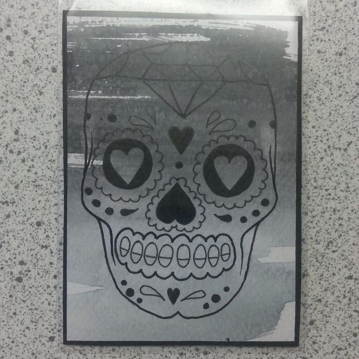 Sugar Skull ATC series - Black&grey