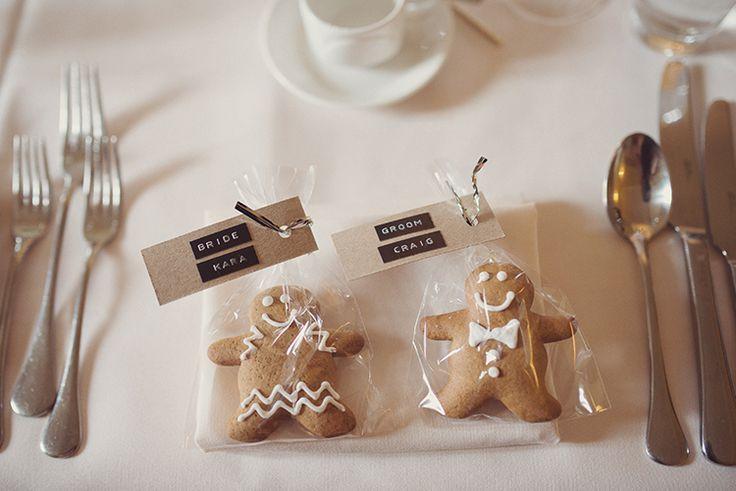 Gingerbread Men Favours Pretty Peach Bow Ties Gypsophila Wedding http://www.rebeccadouglas.co.uk/