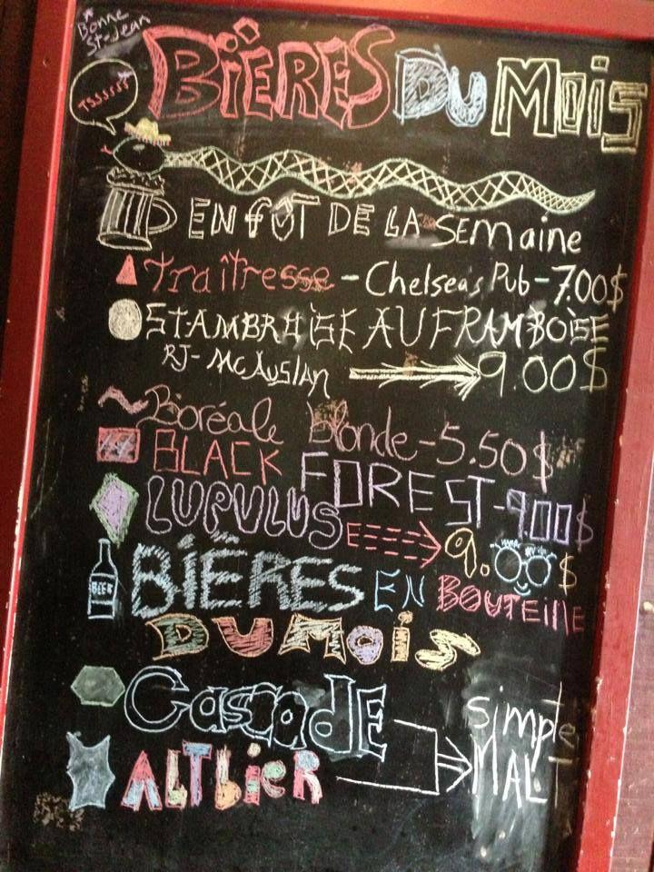 Tableau des bières en fût du Chelsea Pub