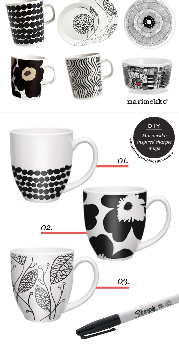 Maiko Nagao - diy, craft, fashion + design blog: DIY: Marimekko inspired sharpie mugs: 350 F for 30 minutes, allow to cool in oven