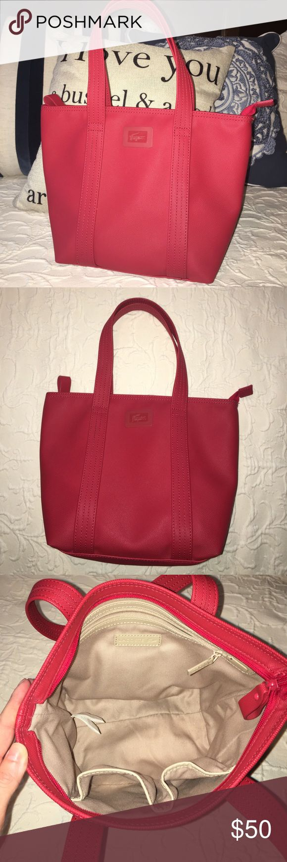 Small Lacoste red zip tote Lacoste red zip tote. Great condition!! Clean outside and interior. Purchased in Rome. Lacoste Bags Totes