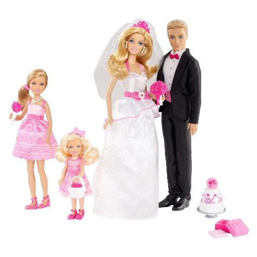 This picture-perfect Barbie Bridal Set very well may be the spark that ignites a vision that she'll be dreaming about for the rest of her life. Barbie makes a stunning bride in her elegant pink and white floor-length gown on the arm of her handsome husband who looks striking in his sleek black tux. Two adorable flower girls with coordinating pink dresses accompany the happy bride and groom. Complete with presents and a cake to celebrate the occasion, your little dreamer is sure to be ...