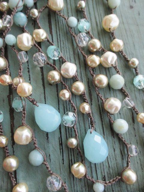 Pearl crochet wrap necklace - Blue Bella - robin egg blue semi precious stone long lariat posh bohemian fall boho by slashKnots