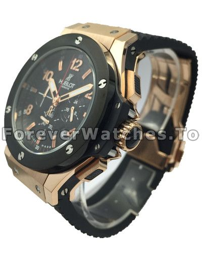 Black Dial Replica Hublot Watches With Red Gold Case Sale For UK