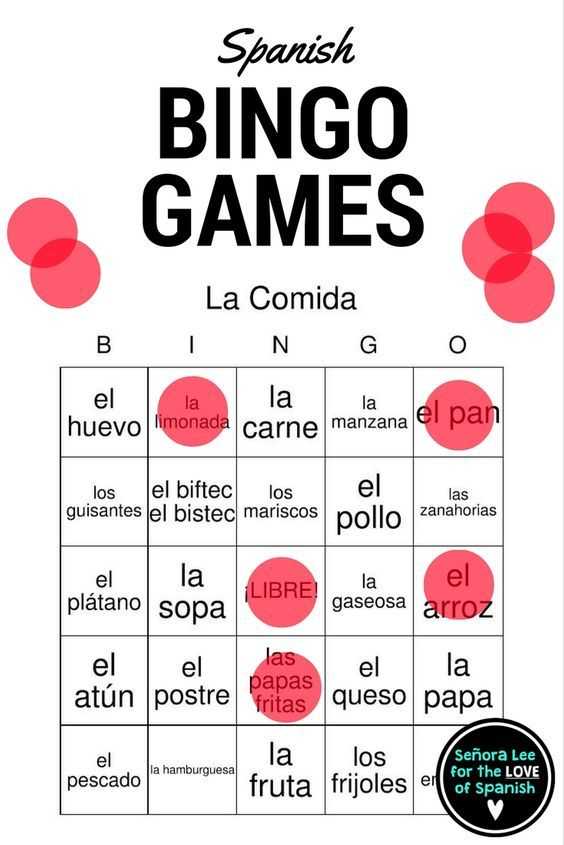 Have fun learning all kinds of Spanish vocabulary! 18 games to choose from: Greetings, Class Objects, Commands, Numbers, Calendar, Clothing, Food, Family. House, Soccer & MORE! Includes 40 bingo cards & a call list. Students LOVE bingo! Great for reinforcing vocabulary throughout the lesson, test review, sub plans or just because it's FUN!