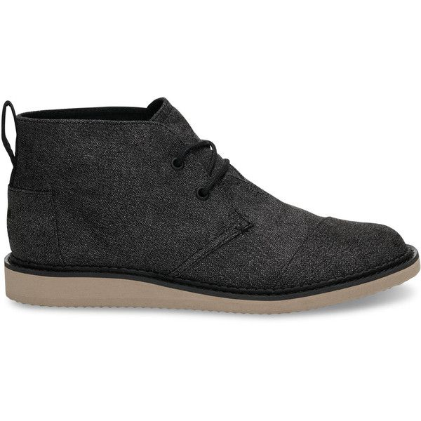 TOMS Charcoal Herringbone Men's Mateo Chukka Boots ($98) ❤ liked on Polyvore featuring men's fashion, men's shoes, men's boots, charcoal, mens shoes chukka boots, mens brogue shoes, mens brogues, toms mens boots and mens boots
