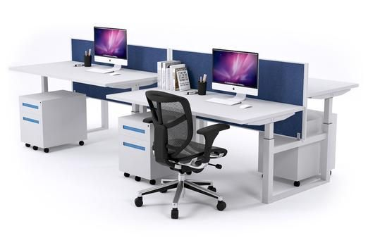 SitStand 4 Person Workstation Electric Height Adjustable Standup. Our 4 person sit-stand workstation is height adjustable and has been tested to support up to 80kg on each desk. The health risks of sitting for too long without end has been brought to light and JasonL emphasizes the need to move around and get up on your feet while in your working space. As well as adding to some much needed working culture and atmosphere in any working environment.