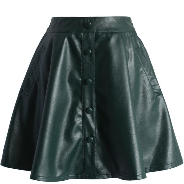 Chicwish Nappa Faux Leather A-line Skirt in Green (895 UAH) ❤ liked on Polyvore featuring skirts, green, knee length a line skirt, green a line skirt, fake leather skirt, green skirt and imitation leather skirt