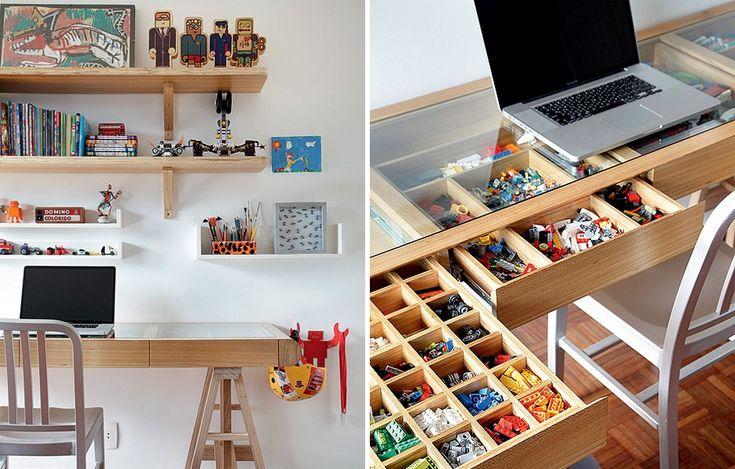 A escrivaninha no quarto de Gabriel, 8 anos, filho da arquiteta Leila Bittencourt, tem gaveta com divisórias para pequenas peças de brinquedo