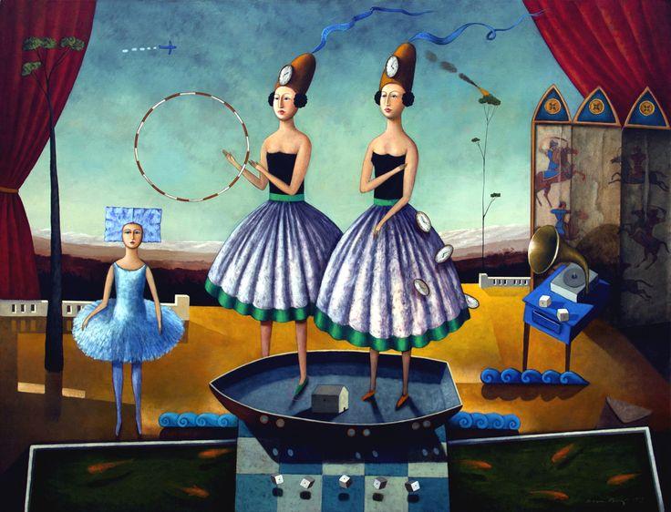 Eterno Viaje de las gemelas. óleo sobre lino. 130 X 150 Cms.
