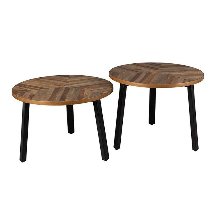 Dutchbone Bijzettafel Mundu Set van 2 | Design meubelen en de laatste woontrends #mundu #dutchbone #zuiver #visgraat #hout #wood #bijzettafels #tafels #tafeltjes #set #staal #stoer #zenlifestyle