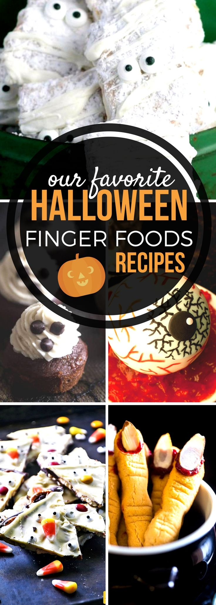Celebrate Halloween with spectacularly spooky Halloween finger foods! Whether you're throwing a scream of a party or enjoying the holiday alone or with your family, these creepy, clever, and fun Sunday Supper recipes are sure to put you and anyone who eats them under their spell. #SundaySupper #HalloweenRecipes #FingerFoods