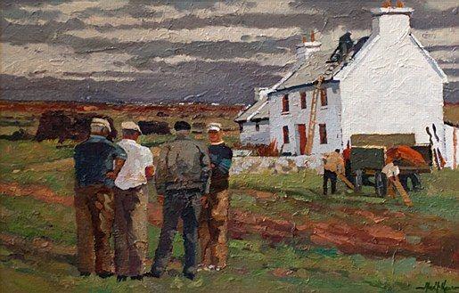 Alex McKenna- Poirtin Harbour  #country #cottage #art #painting #Ireland #sky #landscape #AlexMcKenna #DukeStreetGallery
