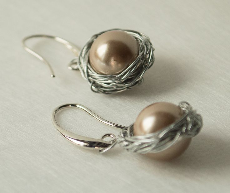 Wire Wrapped Jewelry Handmade, pendant earring featured Swarovski pearls with  Highly Polished Silver plated brass ear wires. by UnikacreazioniShop on Etsy
