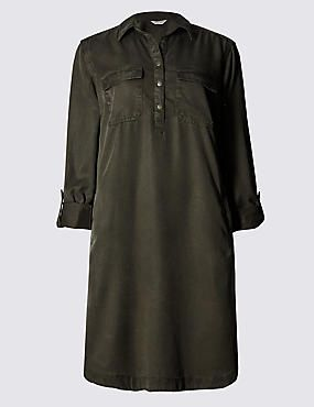 Collared Neck Shirt Dress