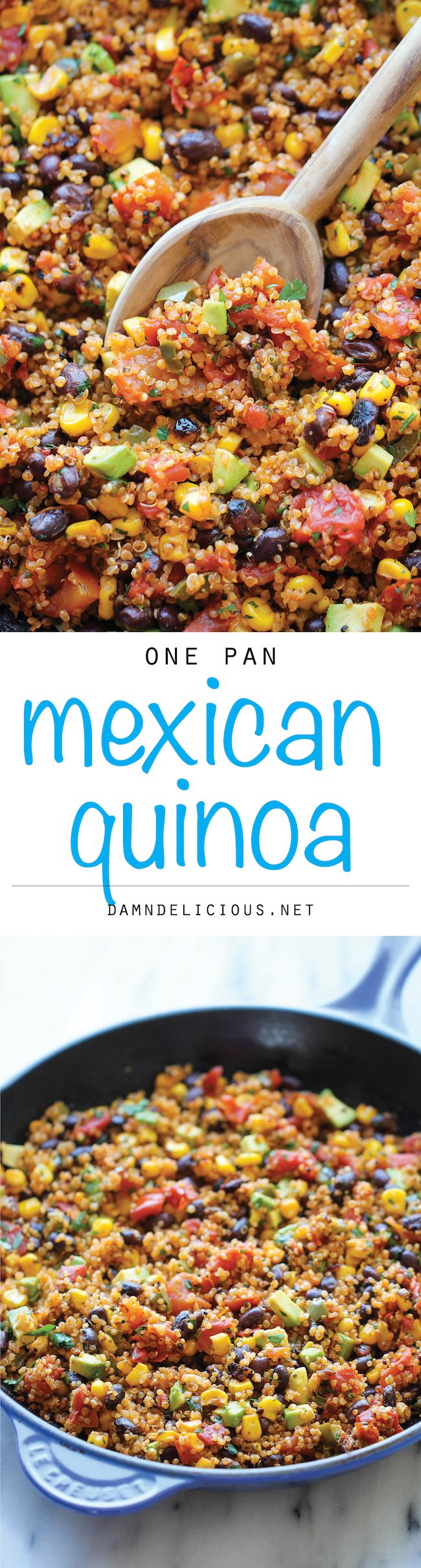 One Pan Mexican Quinoa - Wonderfully light, healthy and nutritious. And it's so easy to make - even the quinoa is cooked right in the pan! #recipe