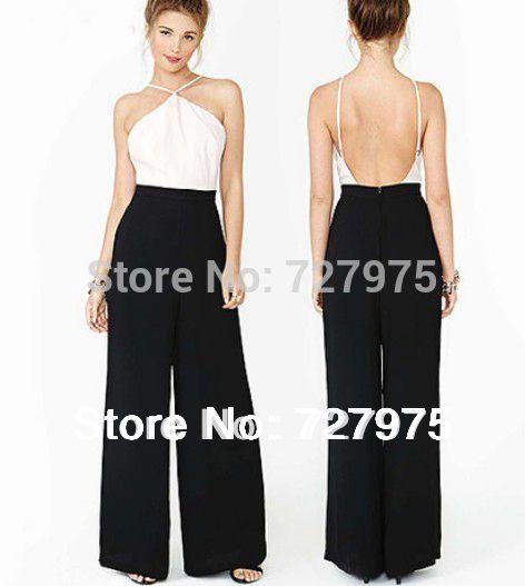 Mujeres Sexy negro blanco del mono de los mamelucos backless trajes buzos del Club body Plus tamaño XXL