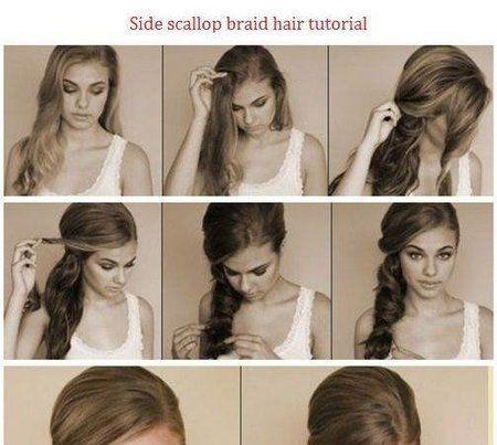 Side scallop braid hair tutorial #hair #hairstyle #howto #tutorial - bellashoot.com #stepbystep #braid
