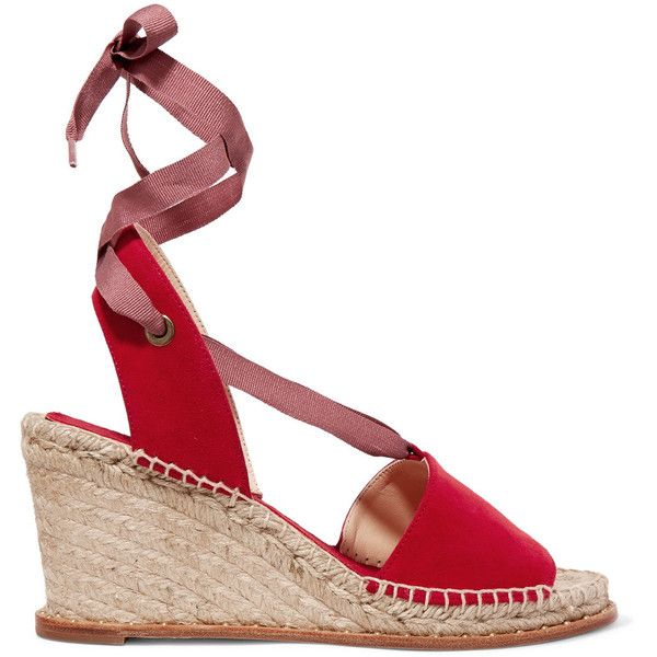 Paloma Barceló - Roxane Suede Espadrille Wedge Sandals ($155) ❤ liked on Polyvore featuring shoes, sandals, red, red sandals, woven wedge sandals, espadrille flats, red platform sandals and summer wedge sandals