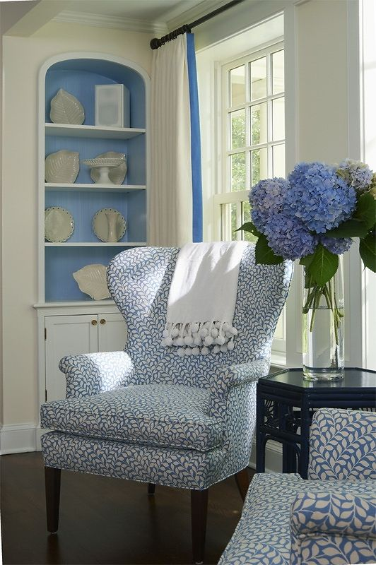 white with blue curtain   ...I love the fabric on the chairs.....