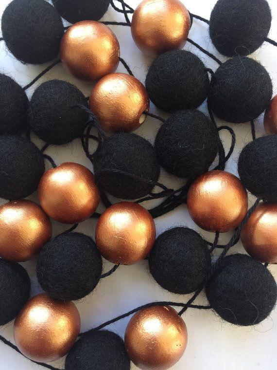 Copper Ink Fair Trade Wool Felt Ball Garland & Wooden by CactusCo