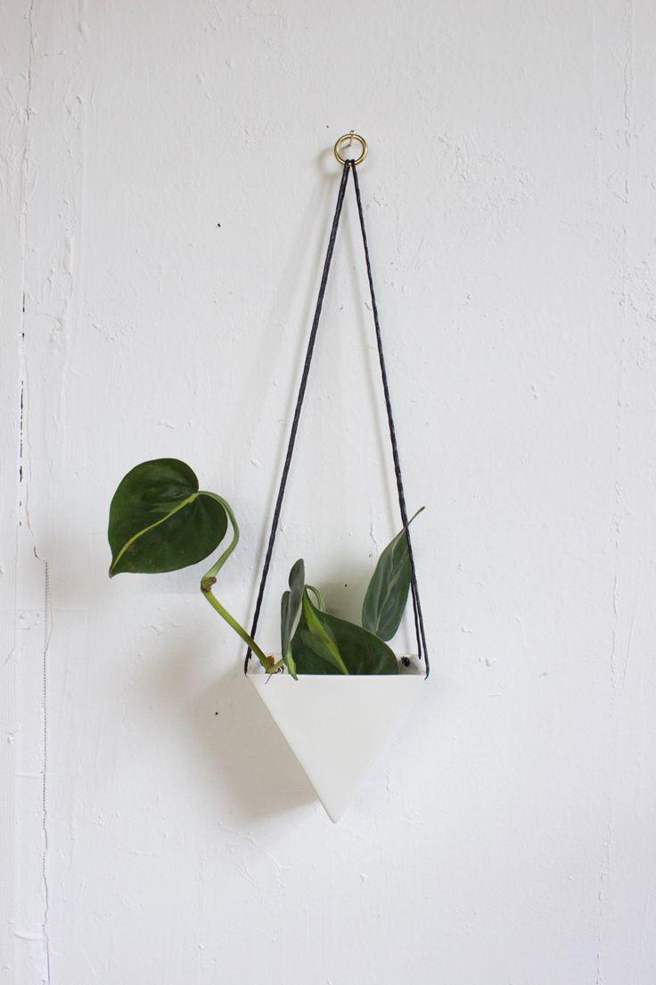 Small Porcelain Triangle Hanging Planter White Bathroom
