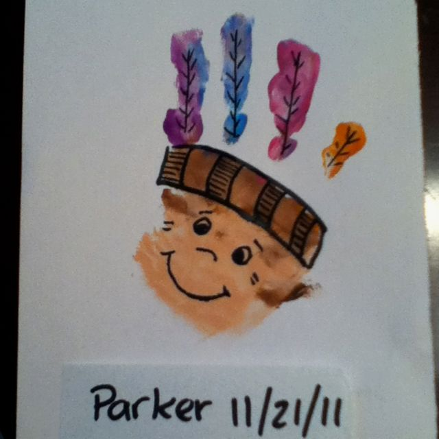 Indian handprint craft for thanksgiving