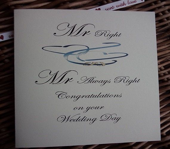 Mr Right and Mr Always Right wedding card by WendysWeddingCorner
