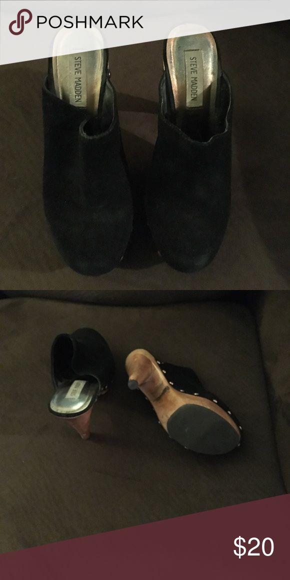 Steve Madden black heels Studded sides, suede black heel Steve Madden Shoes Mules & Clogs
