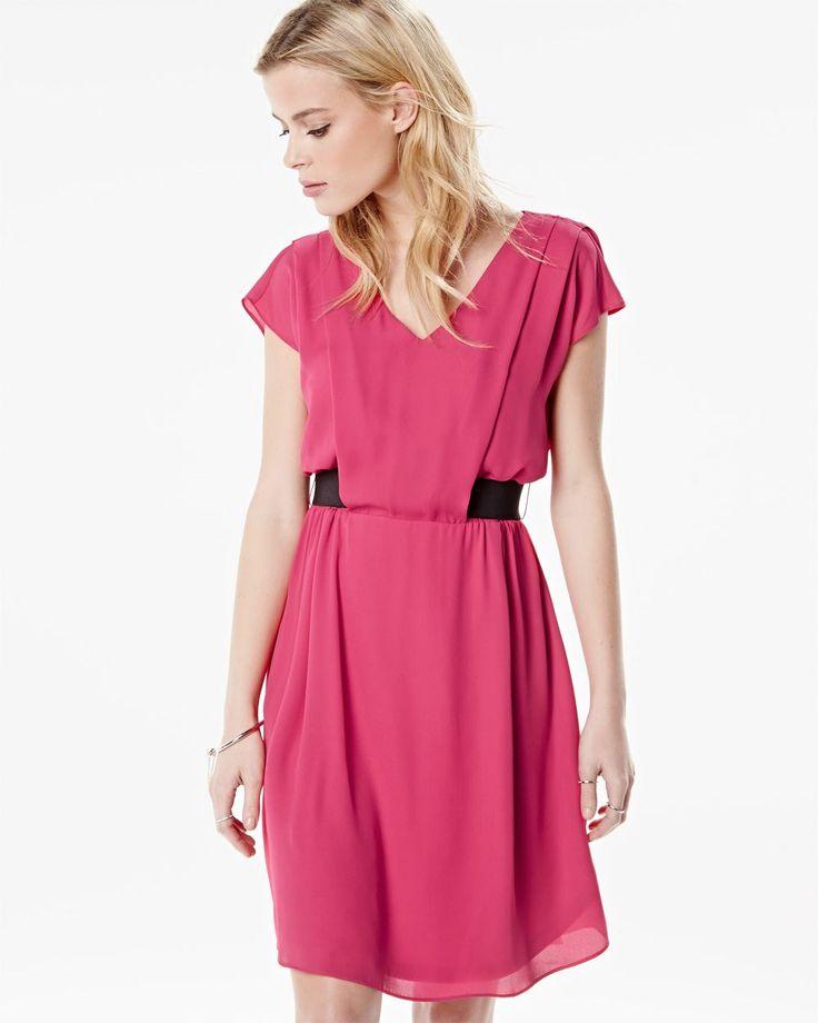 Chiffon dress with elastic waist