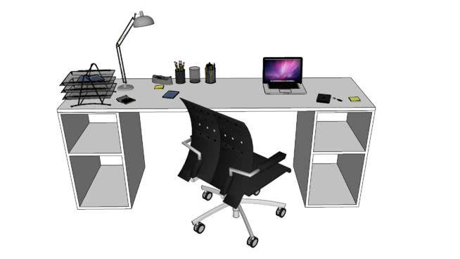 Bureau Simple Avec Traiteaux Objets Typique D Un Bureau D Etudiant Pris Sur La Banque D Image 3d Et Recomposes Pour Certai Office Workspace Desk Office Desk
