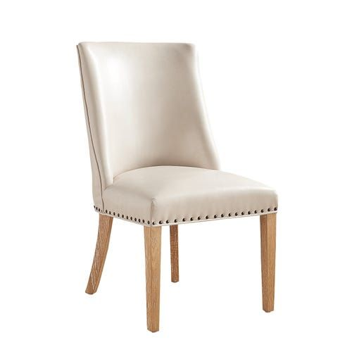 Corinne Ivory Dining Chair with Espresso Wood