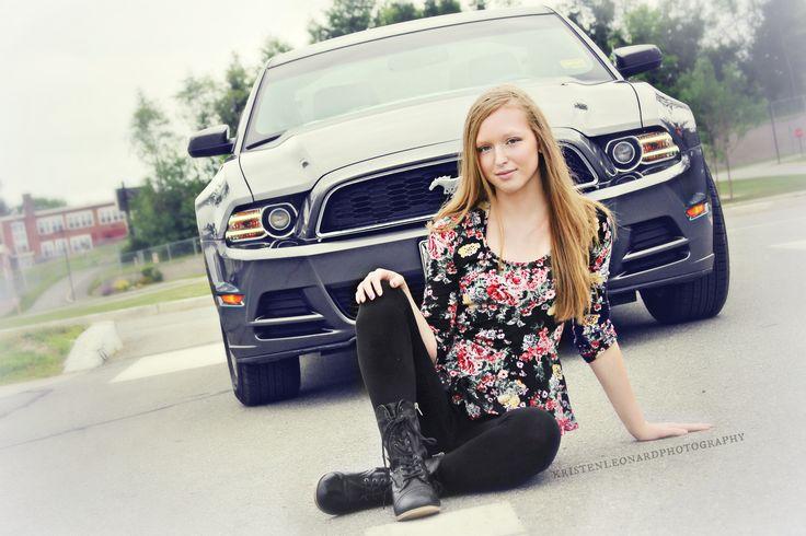 Hampden Maine teen portraits, Mustang, Kristen Leonard Photography