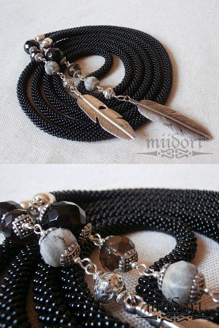 #beadcrochet #lariat #black #stones #feathers