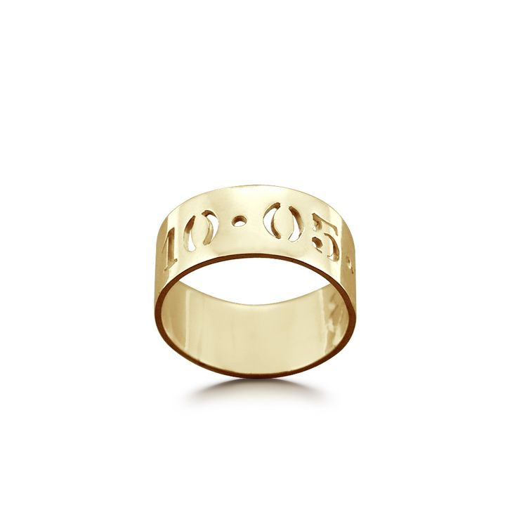 7mm 14k Gold Cut Out Date Ring (available in sizes 6-9)