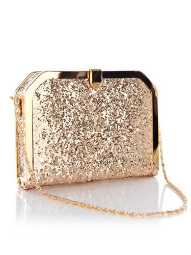 Oasis gold glitter clutch bag
