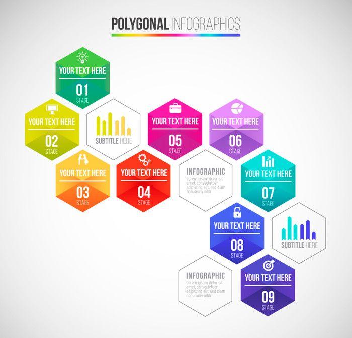 彩色六边形商务信息图矢量图,素材格式:AI,素材关键词:商务,信息图,六边形,序号